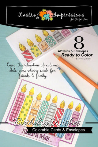Birthday Wishes - Cards & Envelopes for Coloring