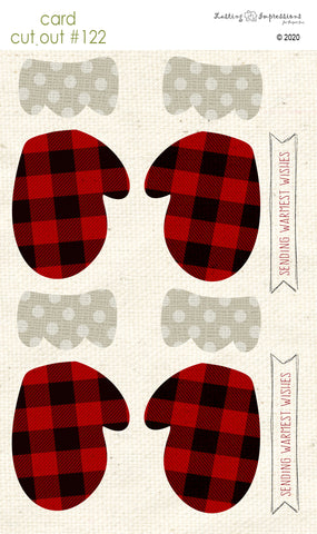 ********CCO122 - Card Cut Out #122 Buffalo Plaid Mittens