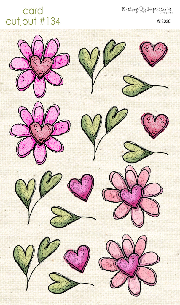 ********CCO134 - Card Cut Out #134 - Flowers, Leaves & Hearts