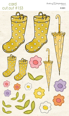 ********CCO153 Card Cut Out #153 -  Daylily Rainboots