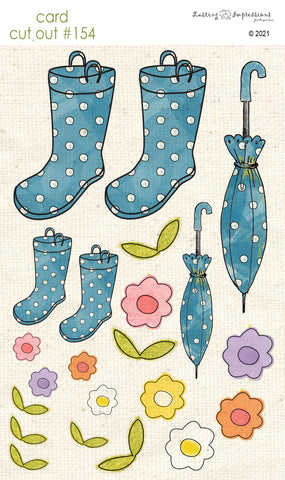 ********CCO154 Card Cut Out #154 - Blueberry Rainboots