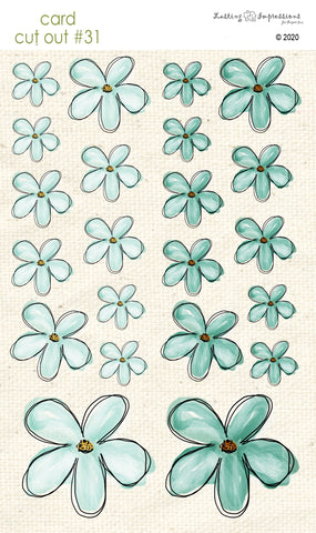 *******CCO31 - Card Cut Out #31 - Sea Foam Flowers