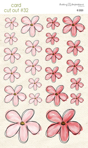 *******CCO32 - Card Cut Out #32 - Pink Geranium Flowers