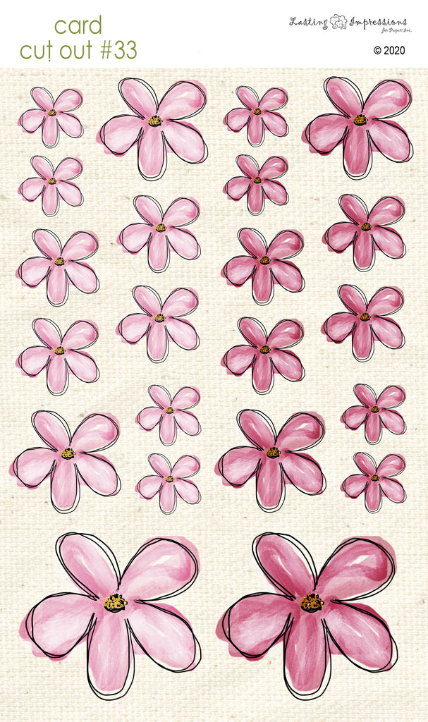 *******CCO33 - Card Cut Out #33 - Pink Cosmos Flowers
