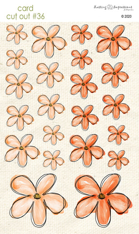 *******CCO36 - Card Cut Out #36 - Orange Poppy Flowers