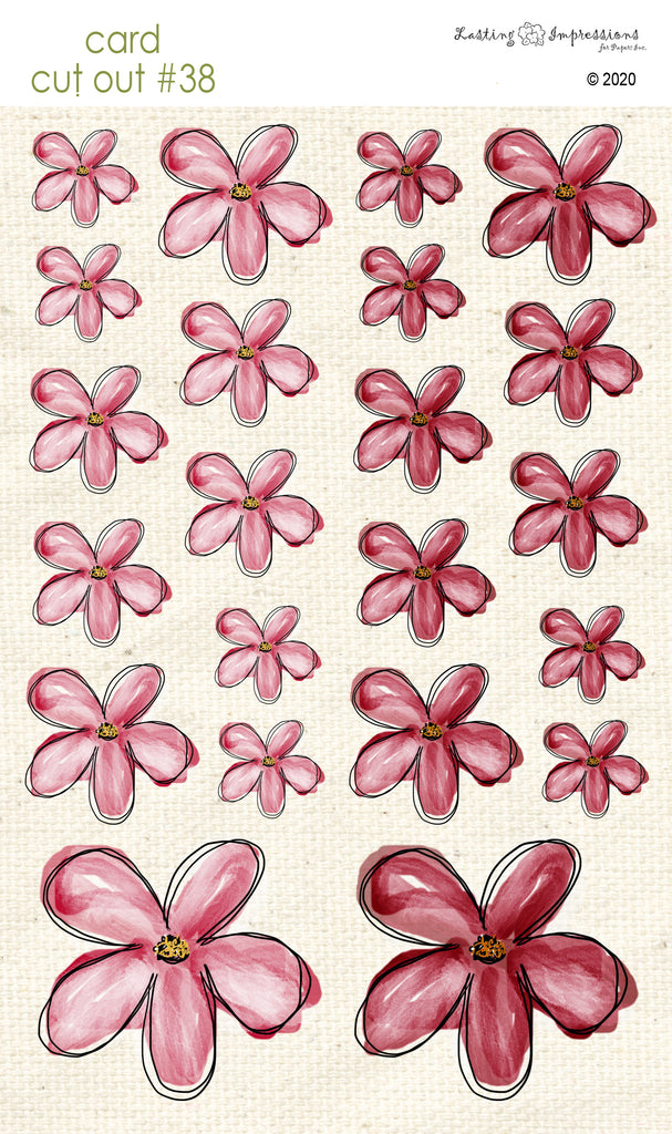 *******CCO38 - Card Cut Out #38 - Red Wagon Flowers