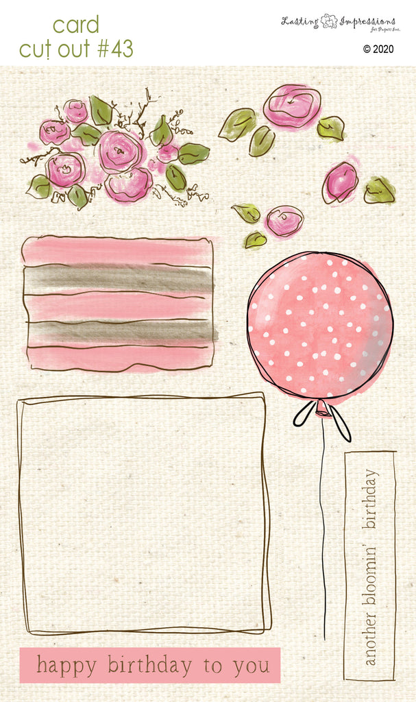 ******CCO43 - Card Cut Out #43 - Birthday Cake or Present - Pink Geranium