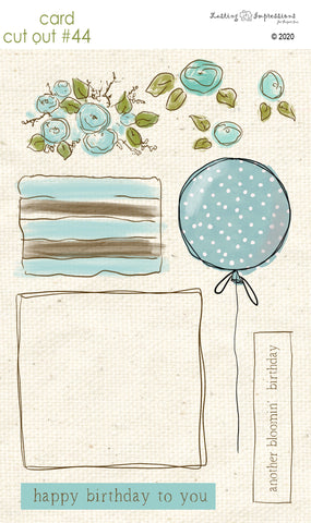 ******CCO44 - Card Cut Out #44 - Birthday Cake or Present - French Blue