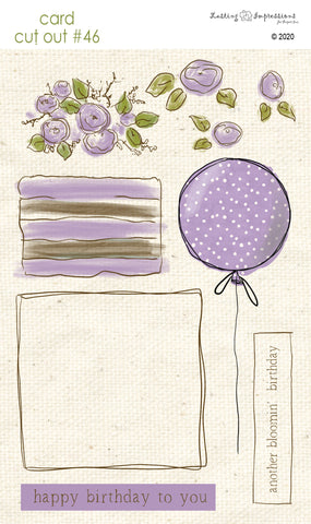 ******CCO46 - Card Cut Out #46 - Birthday Cake or Present - Vintage Lilac