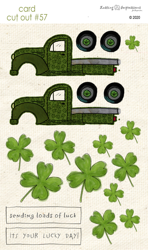 ******CCO57 - Card Cut Out #57 - Truck - Shamrocks
