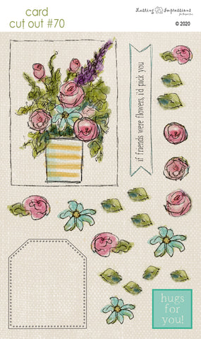 ********CCO70 - Card Cut Out #70 - Bouquet in Striped Vase