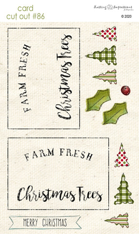 ********CCO86 - Card Cut Out #86 - Farm Fresh Christmas Trees on Natural