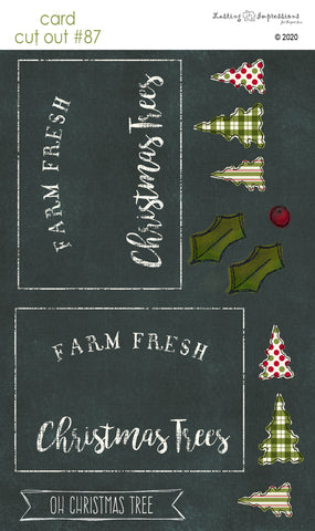 ********CCO87 - Card Cut Out #87 - Farm Fresh Christmas Trees on Black