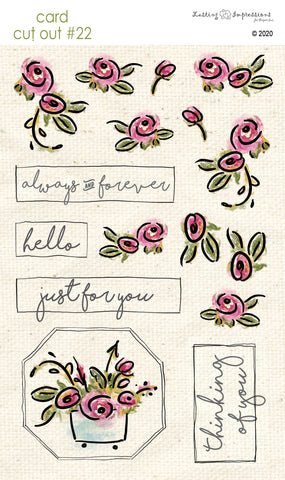****CCO22- Card Cut Out #22 Rose Doodles