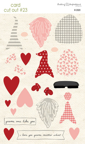 ****CCO23 - Card Cut Out #23 Valentine Gnomes - Pink Geranium