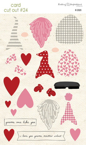 ****CCO24 - Card Cut Out #24 Valentine Gnomes - Pink Cosmos