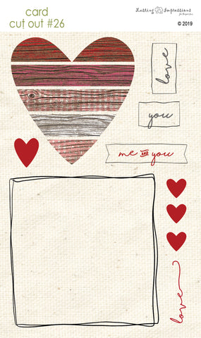 ****CCO26 - Card Cut Out #26 - Rustic Heart Piecing