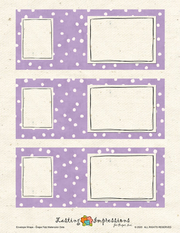 ********Envelope Wrap - Vintage Lilac Watercolor Dots