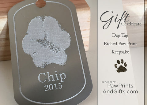 GC Etched Paw Print Dog Tag Gift Certificate