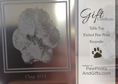 GC Etched Paw Print Keepsake - Table Top Display Gift Certificate
