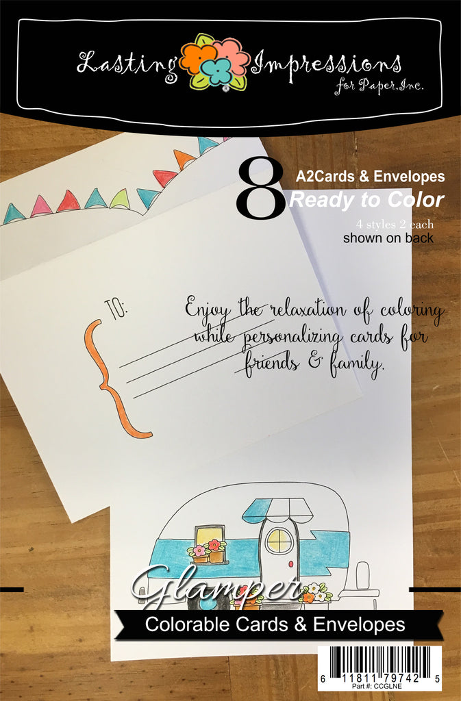 Happy Glamper - Cards & Envelopes for Coloring