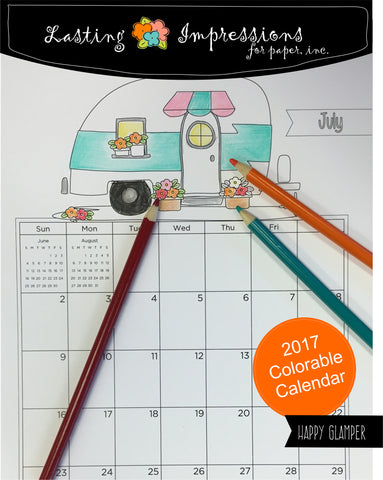 **Happy Glamper 2017 Calendar for Coloring