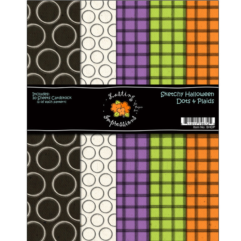*COSHDP8 - Sketchy Halloween Dots and Plaid 8 1/2 x 11 Collection Pack
