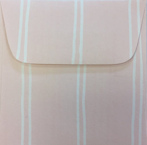 Petal Pink Stripe Doodle Tag Envelope - Set of 4