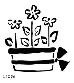 L1056  - Pot with Flowers & Bow