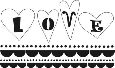 L9736 - LOVE w/ Scalloped Borders