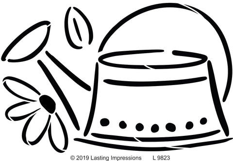 **L9823- Watering Can with Flower