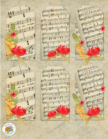 *VMWFT8 - Vintage Music Wild Flowers Tags