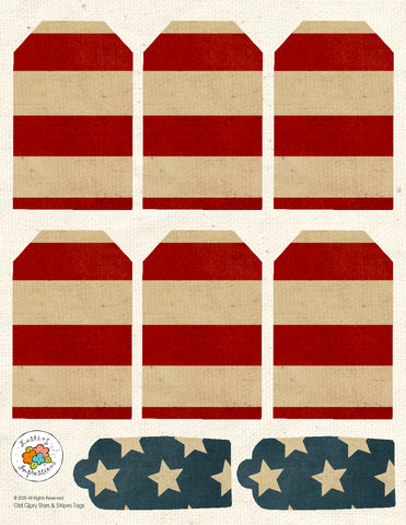 *******Old Glory Stars & Stripes Tag Sheet