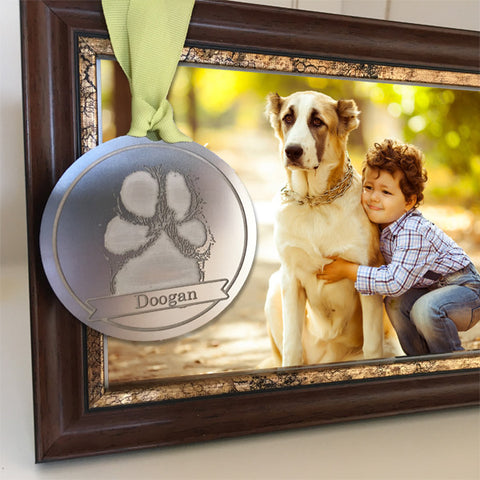 GCR Etched Paw Print Round Tag