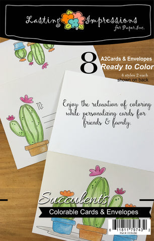 **Succulents - Cards & Envelopes for Coloring