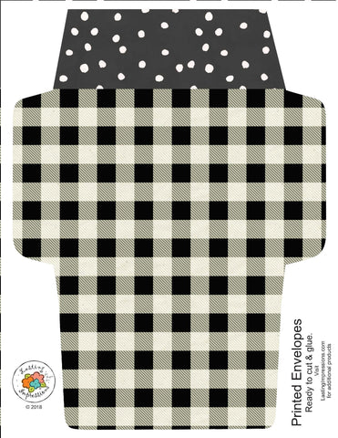 ********A2 Envelopes DIY Buffalo Plaid and Pink Watercolor Dots