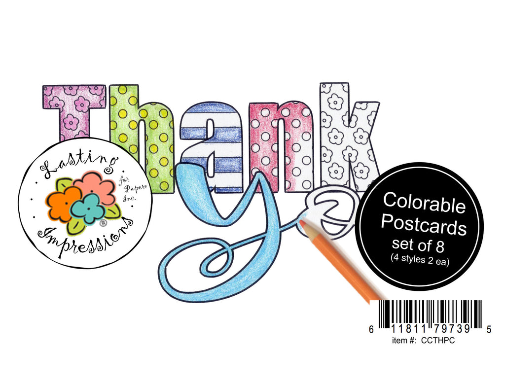 Thank You - Postcards for Coloring
