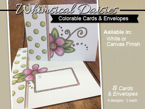 ***Whimsical Daisies - Cards & Envelopes for Coloring