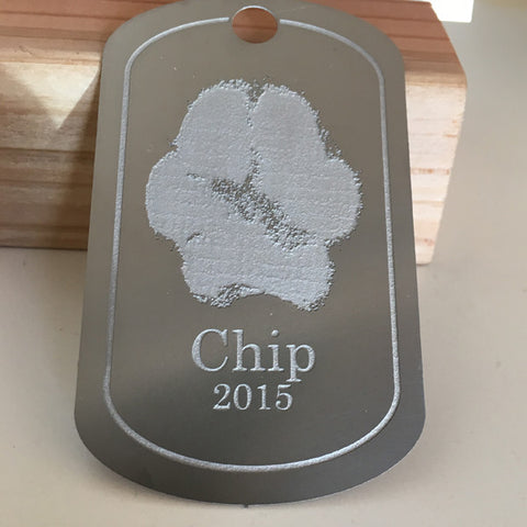 Etched Paw Print Dog Tag