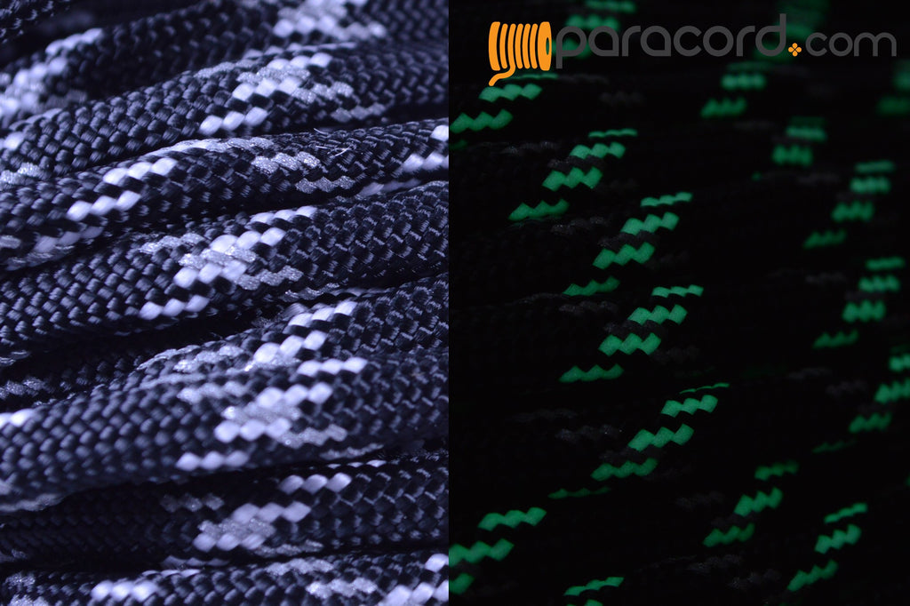 Reflective & Glow in the Dark Tracer Black Paracord