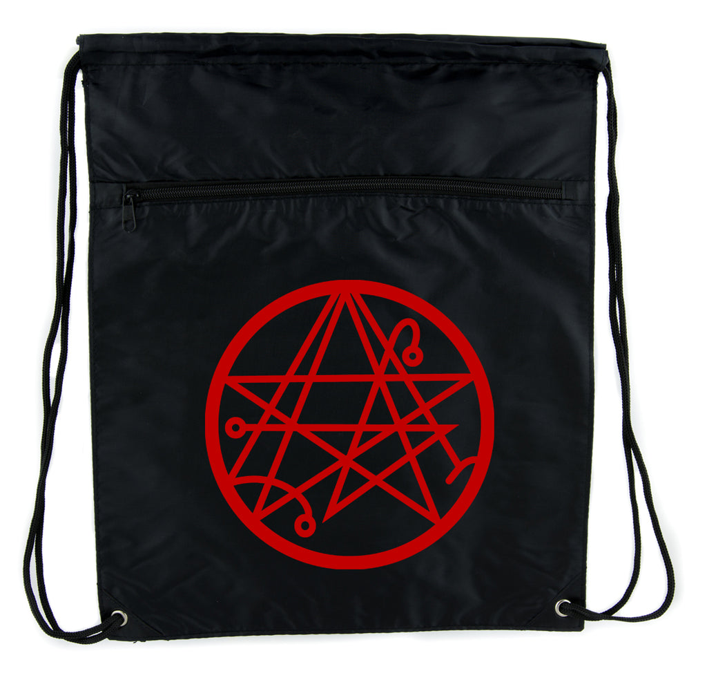 Necronomicon Gate Cinch Bag Drawstring Backpack Alchemy Symbol H P   Lovecraft