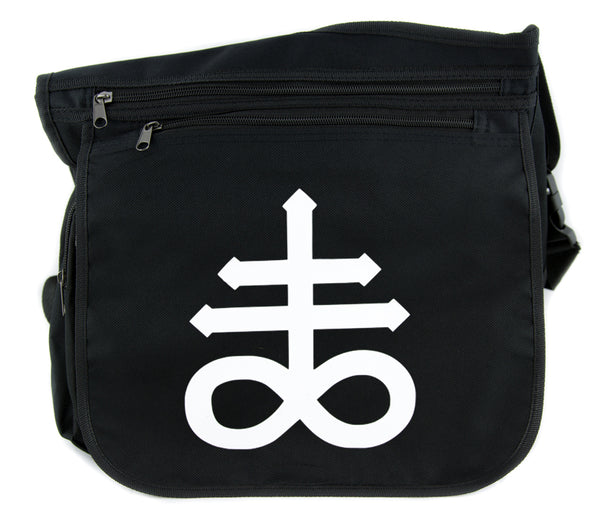 Crux Satanus Leviathan Cross Body Messenger School Bag Occult Black Sulphur