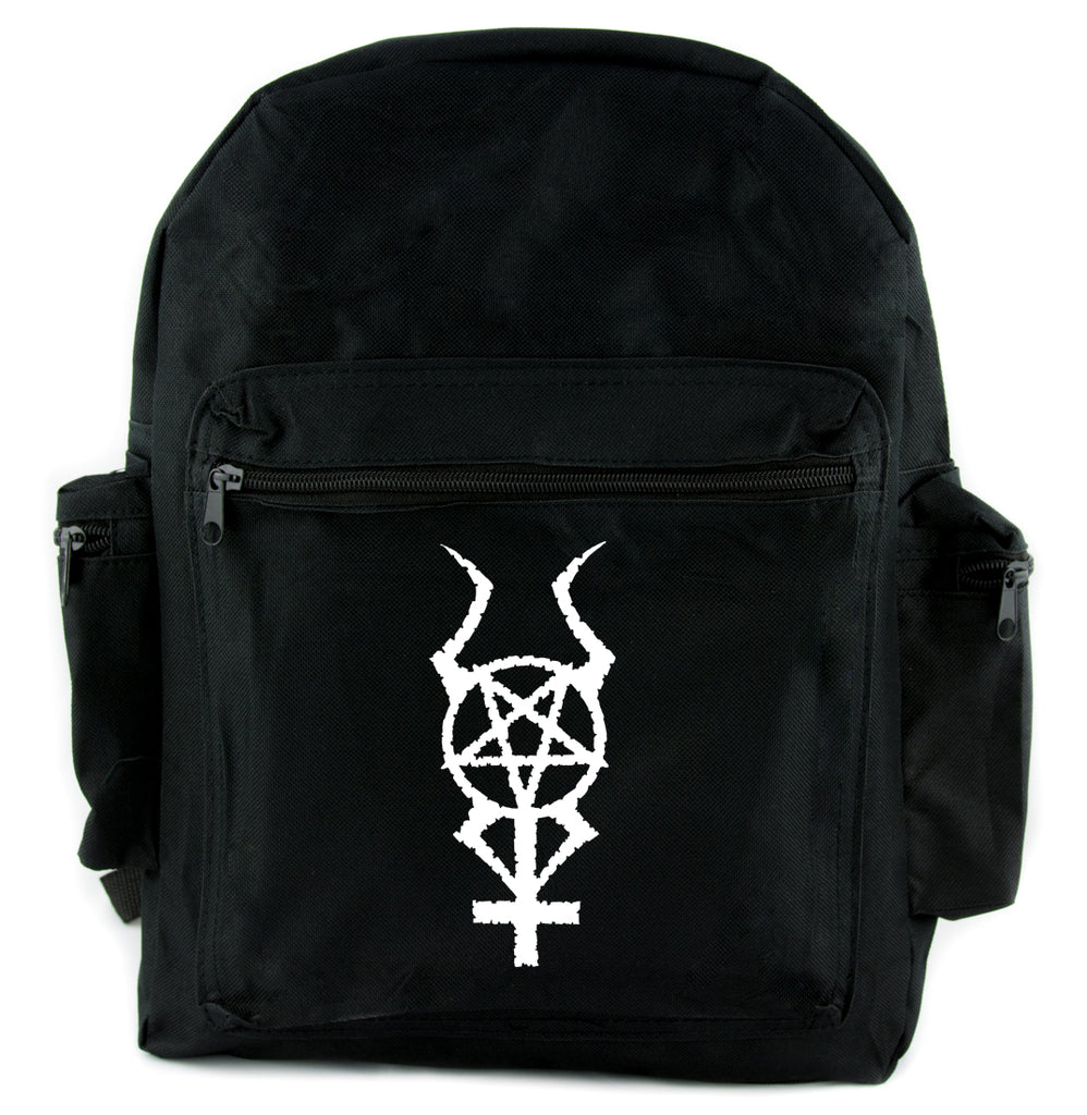 Inverted Horned Pentacross Backpack School Bag Occult Cross & Pentagram
