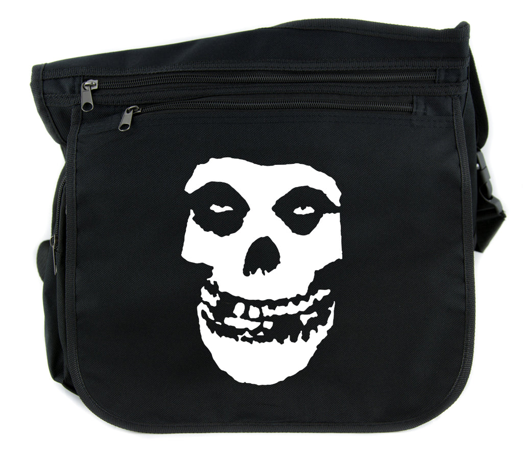 Skeleton Skull Misfits Cross Body Messenger School Bag Punk Rock Emo Horror