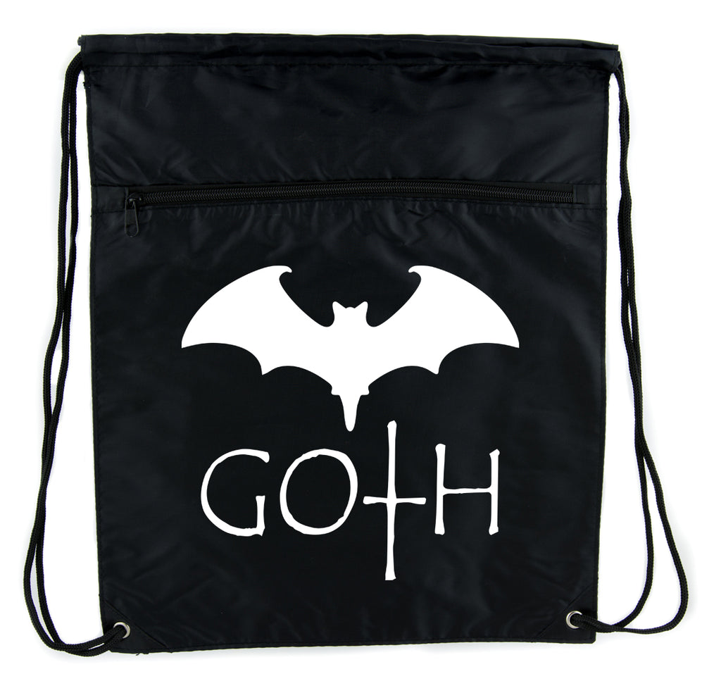 Goth with Bat Cinch Bag Drawstring Backpack Punk Emo