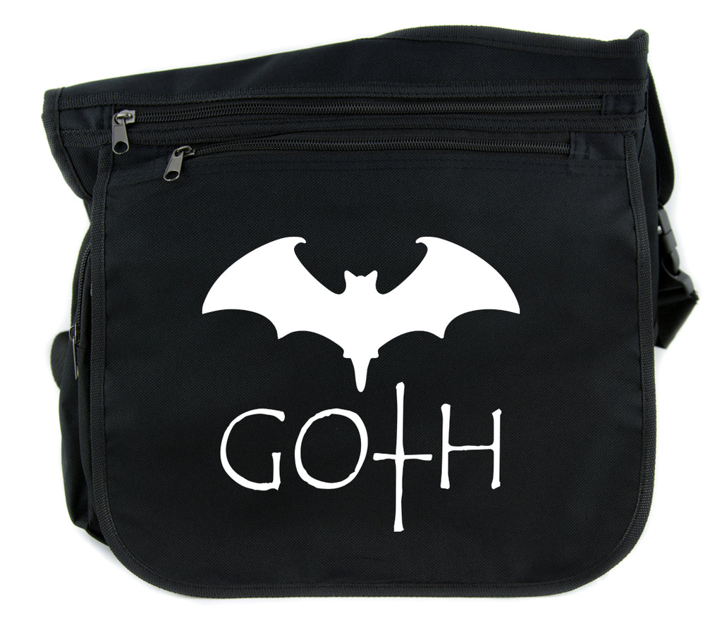 Goth with Bat Cross Body Messenger School Bag Punk Emo Alternative