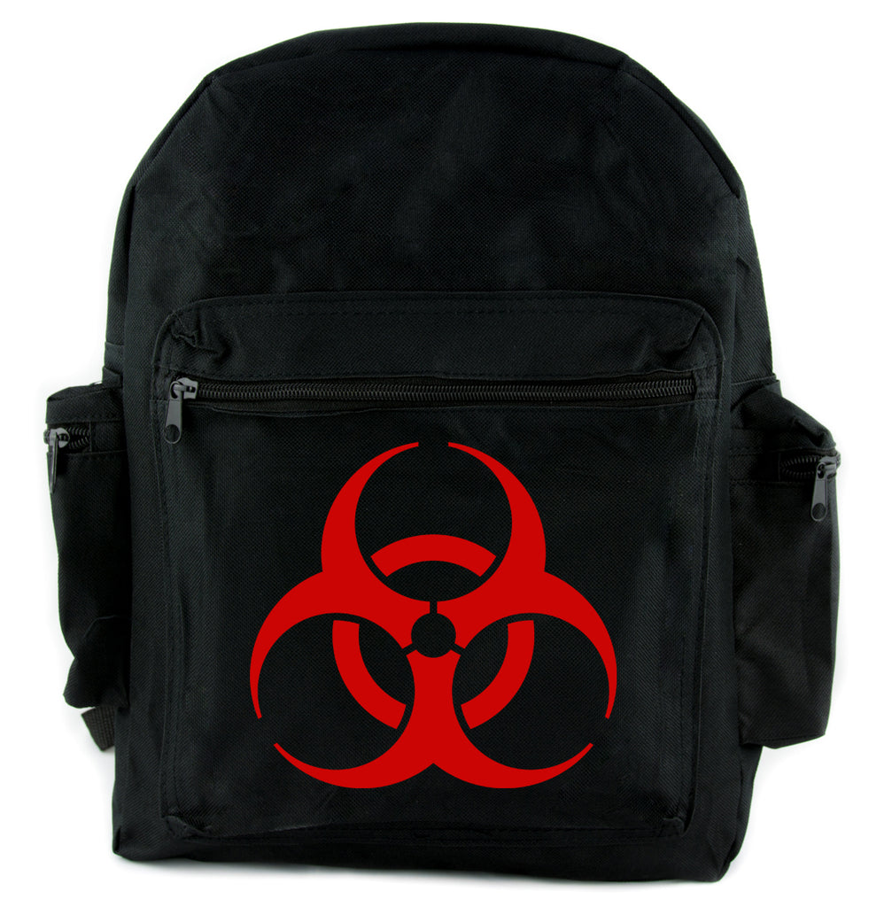 Red Bio-Hazard Radiation Backpack School Bag Cyber Goth Zombie