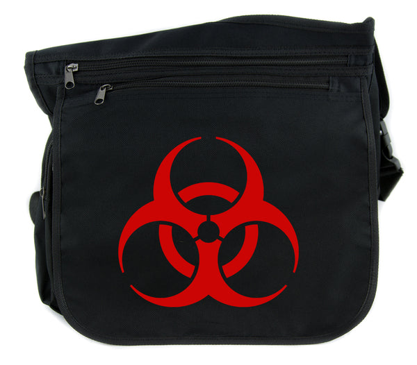 Red Bio-Hazard Radiation Cross Body Messenger School Bag Cyber Goth Zombie