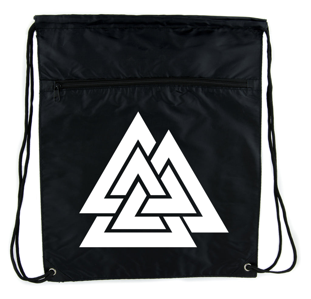 Norse Triangle Knot Cinch Bag Drawstring Backpack The Valknut Odin's Slain Warriors