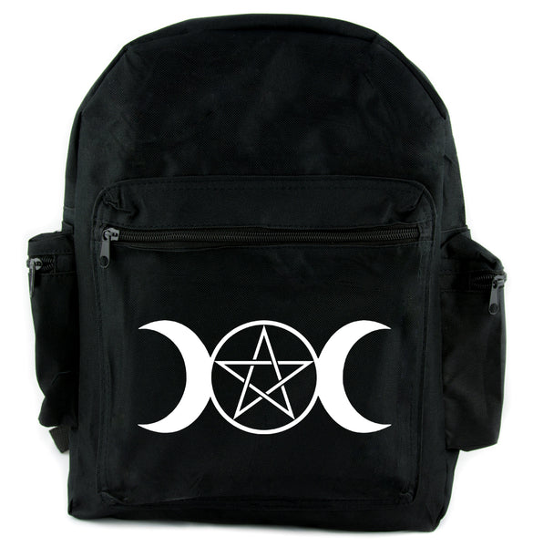 Triple Moon Goddess Pentagram Backpack School Bag Witch Occult
